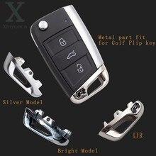 Xinyuexin auto peça chave de metal com logotipo r para vw golf 7 para vw mk7 para skoda octavia a7 para seat remoto flip carro remoto chave