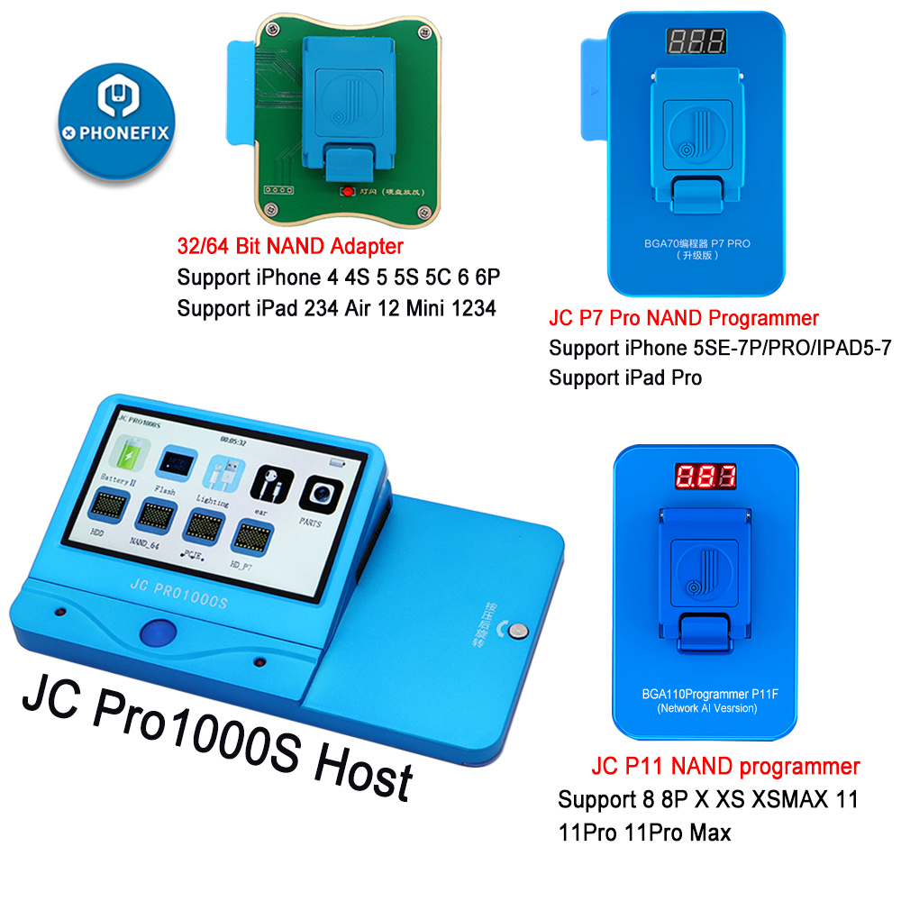 JC Pro1000S JC P7 Pro JC P11 NAND Programmer HDD Serial Read Write Error Repair For iPhone 11 XR XS Max 8 X 7 7P 6 6S All iPad