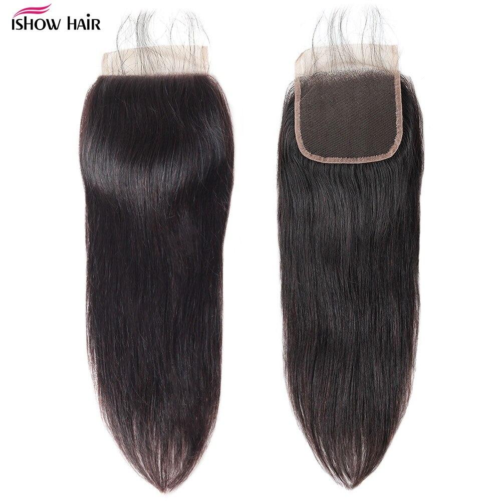 O fechamento reto brasileiro do laço do cabelo de ishow livra o meio três parte 4x4 fechamento do laço não-fechamento suíço do laço do cabelo humano de remy 1pc