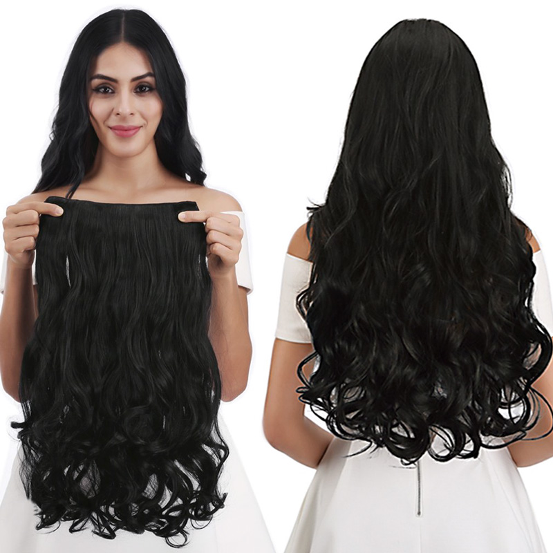 Lelinta 30''1-Pack 3/4 Full Head Curly Wavy Clips In on Synthetic Hair Extensions Hairpieces for Women 5 Clips Fake Hair