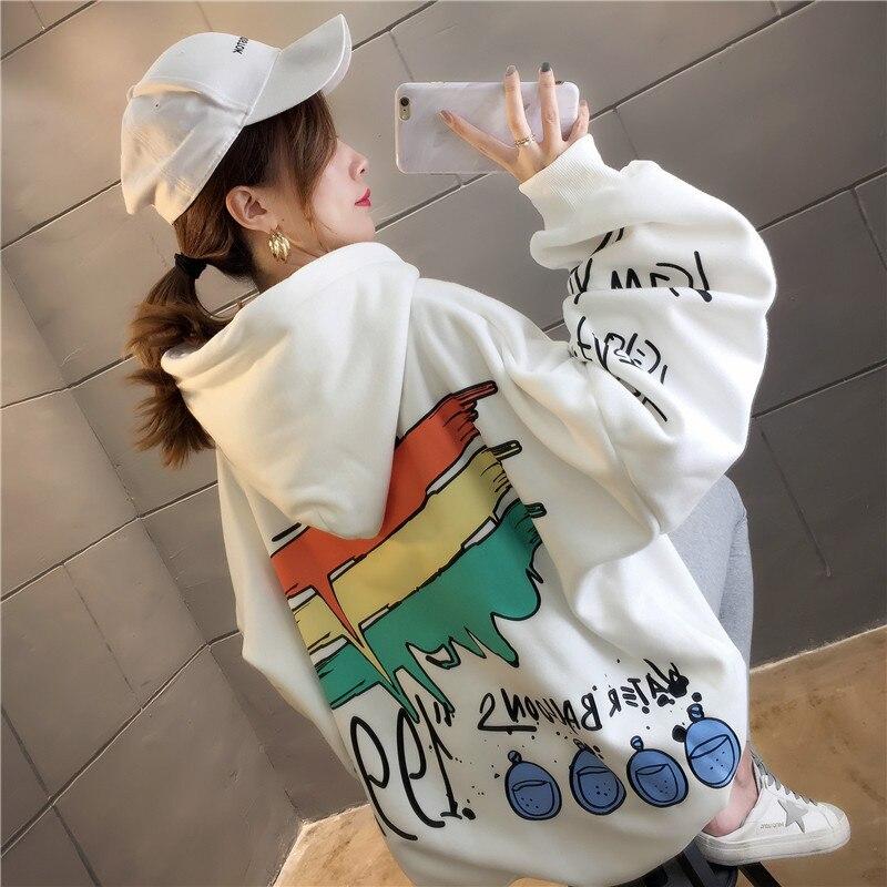 Толстовка женская оверсайз с капюшоном, флисовый свитшот с мультяшным принтом, с карманами, худи в стиле Харадзюку, зима-осень
