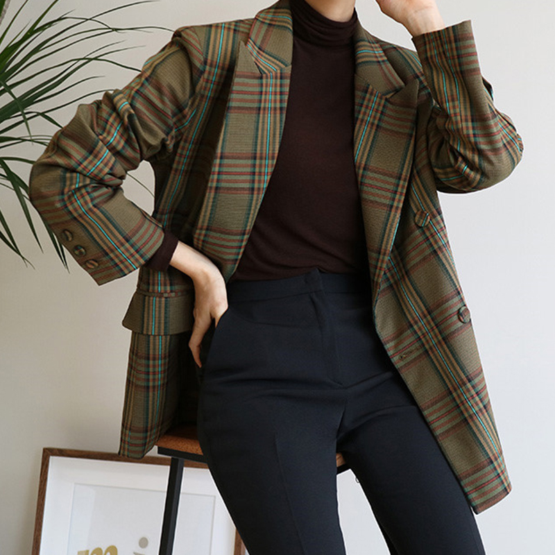 Vintage Double Breasted Plaid Blazer Women Pockets Jackets Female Retro Suits Coat Feminino Blazers Outerwear Ka738