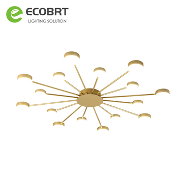 ECOBRT Black Gold LED Ceiling Lights With Round Metal Lampshade For Living Room Wall Surface Mounted Ceiling Light Bedroom lamp