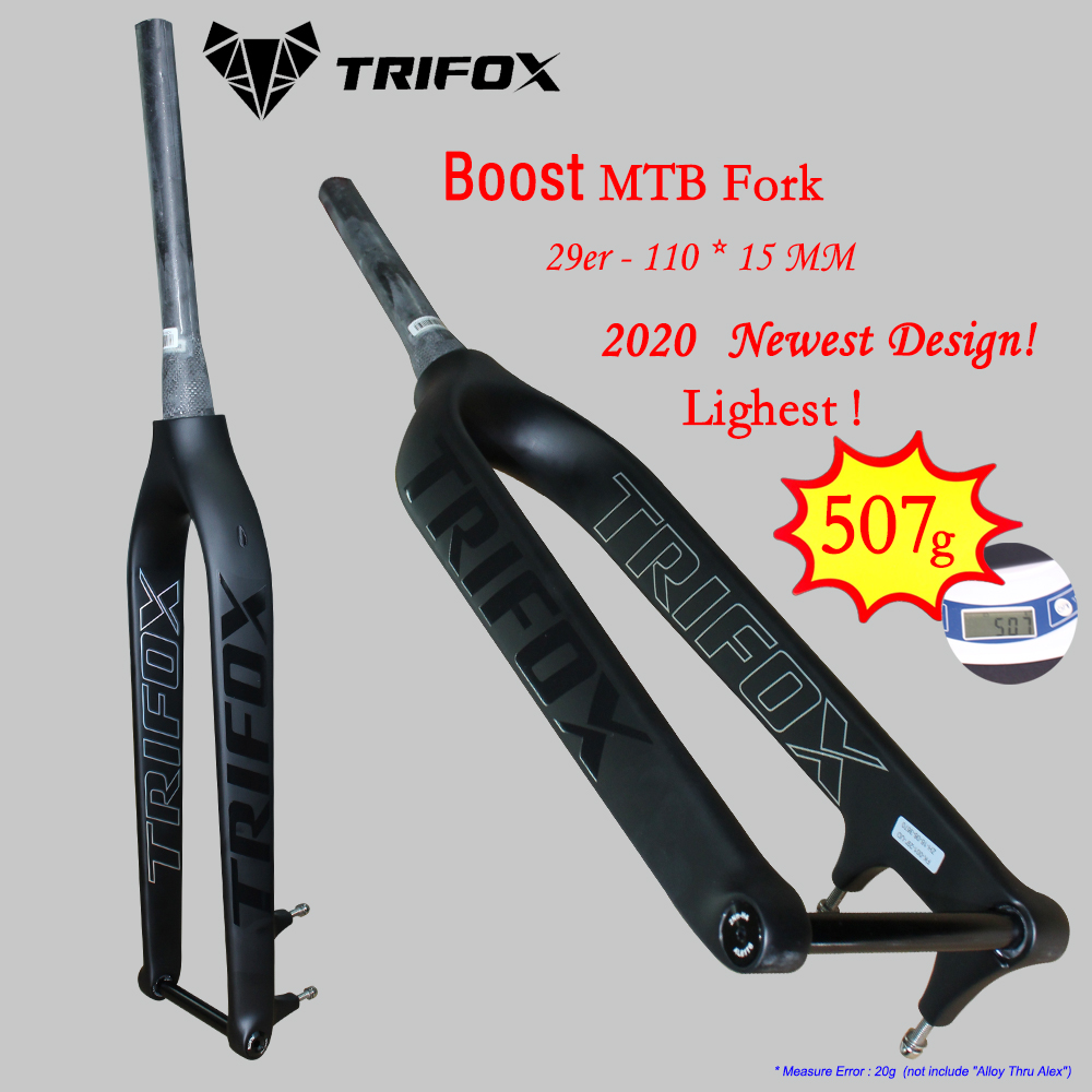 "TRIFOX Bike Suspension 29 Carbon MTB Fork boost Tapered 1-1/8"" to 1-1/2"" Disc Brake 110*15 Thru Axle Forks UD mountain bike"