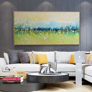 Image 5 - 2020 لوحة Cuadros لتزيين الجدران ومطبوعات 100% مرسومة باليد ، وجداريات جبلية ذهبية ، ديكور غرفة المعيشة