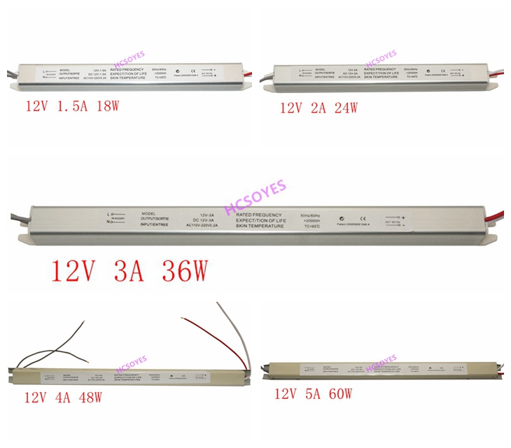 DC12V 2A 3A 4A 5A  18W 24W 36W 48W 60W Ultra Thin Switching LED Power Supply Lighting Transformer Slim Advertising Box Sign