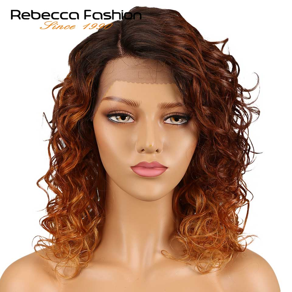 Rebecca Loose Curly Right Side Part Lace Front Human Hair Wigs For Black Women Peruvian Remy Loose Curly Lace Wigs 18 Inch