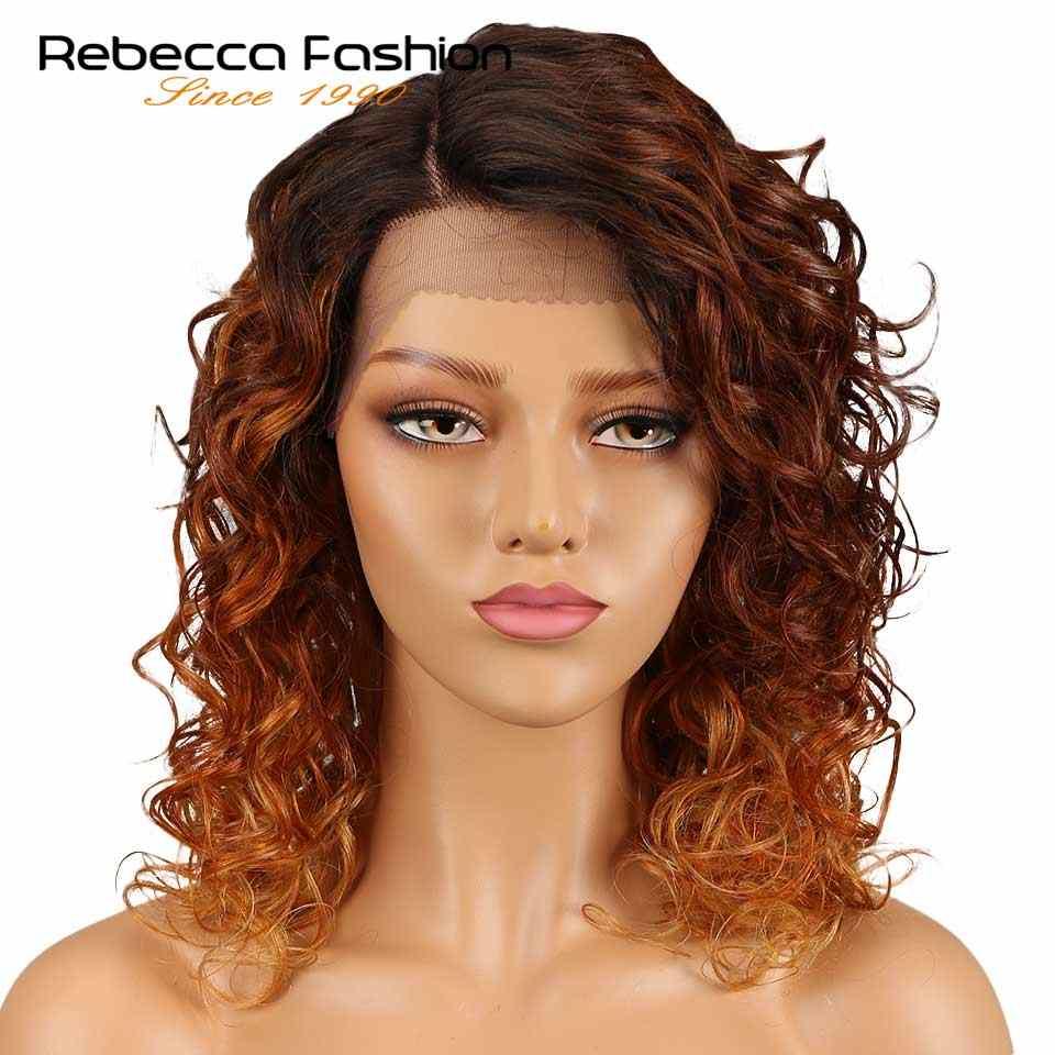 Rebecca luźne kręcone prawe przedziałek z boku koronki przodu peruki z ludzkich włosów dla czarnych kobiet peruwiański Remy luźne kręcone peruki koronkowe 18 Cal