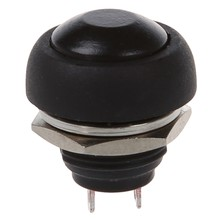 12mm Flush Mount SPST ON/OFF Momentary Black Round Push Button Switch 250VAC 3A(China)