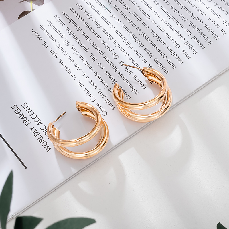 Geometry Metal Gold Retro Drop Earrings 15