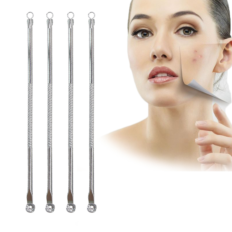 EFERO 2pcs Double Side Acne Needle Face Care Comedone Extractor Tool Acne Blemish Blackhead Pimples Removal Tool Spoon For Face