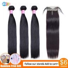 BỞI Thẳng Lưng với Khóa Meches Humaines Cheveux Peru Tóc 3 Ốp Lưng Với Khóa 1/2 chiếc Remy Con Người Tóc
