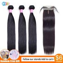 DA Fasci di Rette con Chiusura Meches Humaines Cheveux Peruviana Umani di Remy Dei Capelli 3 Bundle Con Chiusura 1/2 pcs Extensions