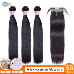 Image 1 - Przez proste wiązki z zamknięciem Meches Humaines Cheveux peruwiański włosów 3 wiązki z zamknięciem 1/2 sztuk Remy włosów ludzkich rozszerzenie