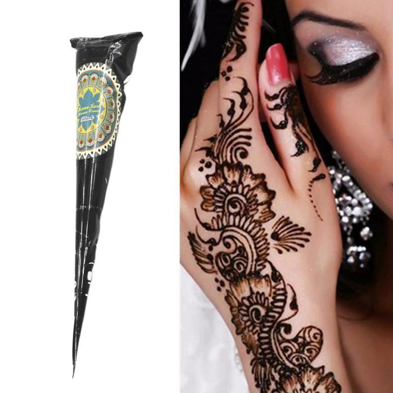1pc Natural Black Indian Henna Tattoo Mehndi Paste Cones Body Art Sticker Mehndi Body Paint
