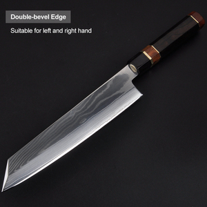 Image 3 - 24cm סושי סשימי סכין יפני vg10 דמשק פלדה Kiritsuke סלמון דגי פילה מטבח שף סכין עם אוקטגון ידית 2.1G