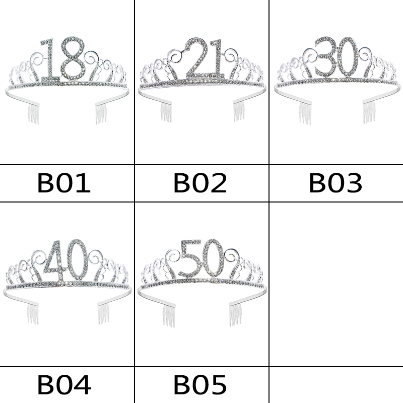 1pc Women Birthday Crown Silver Rhinestone Tiara Crown Headband for 18 21 30 40 50 Year Old Birthday Decoration Hair Accessories-4