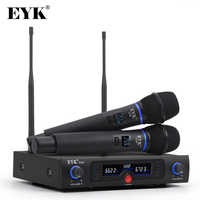 EYK E200 UHF Long Range Dual Channel Wireless Microphone System Whole Metal Handheld Mic with New Light Design for Karaoke KTV