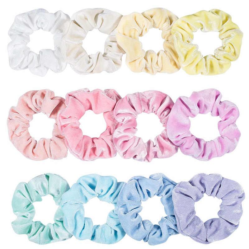 Pacote de veludo feminina 12 cores, acessório de veludo com 12 pçs/lote cores brilhantes conjunto de cabelo schrunchy 2020 ano novo