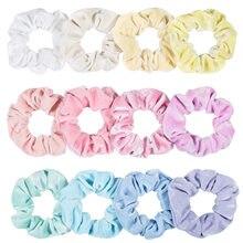 Toptan kadınlar kış kadife Scrunchie paketi 12 adet/grup parlak Pastel renk elastik saç kravat halat kız saç Schrunchy seti 2021