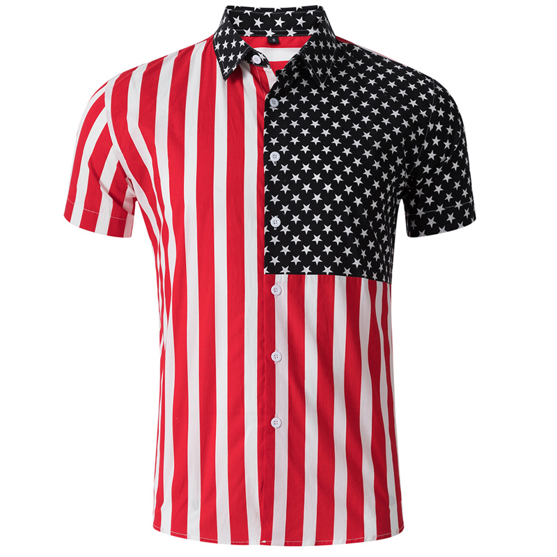 Striped Print Cusual Mens Shirts American Flag Pattern Mens Dress Shirts Mid Sleeve Summer Men Fashion Streetwear Topwear A720