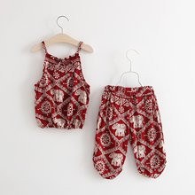 Baby Girls Short-sleeved T-shirt Vest&Pants with Lovely Elephant Silk Print Soft Toddler Daily Dress