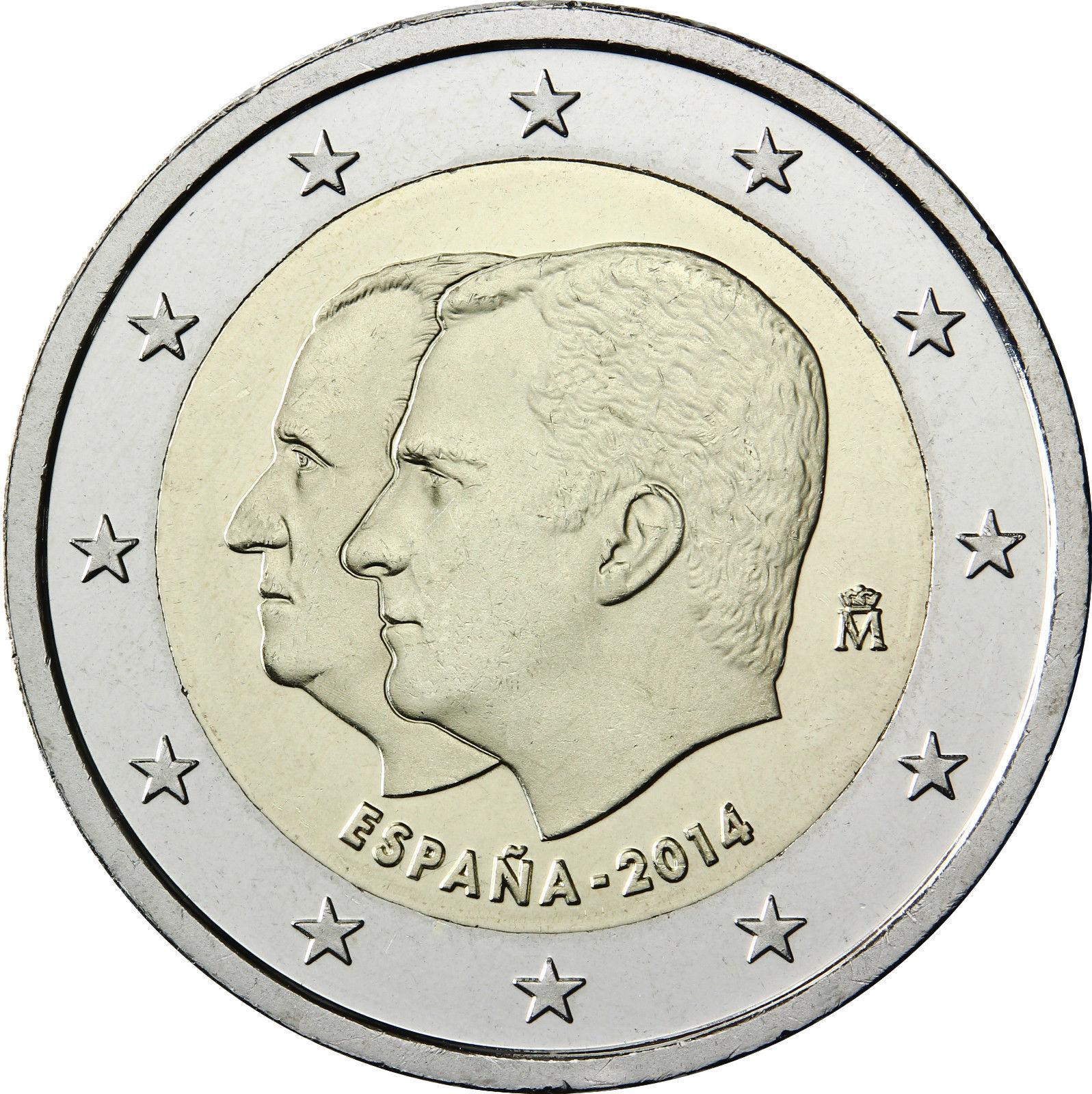Испания 2014 Двойной портрет Филипп VI взошел трон 2 евро НАСТОЯЩИЕ Оригинальные монеты настоящая Евро коллекция памятная монета Unc