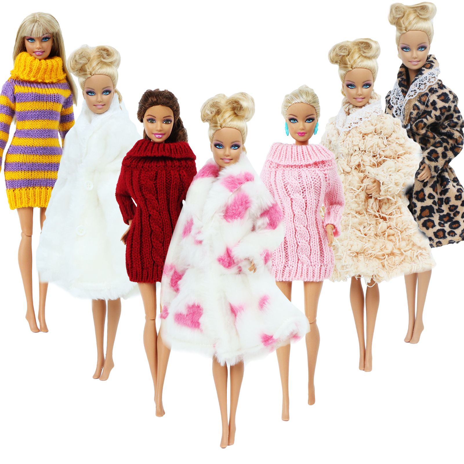 1 Set Winter Knitted Turtleneck Sweater Furry Robe Dress Clothes For Barbie Doll Toy 12 Inch. Accessories Lot Color Outfit