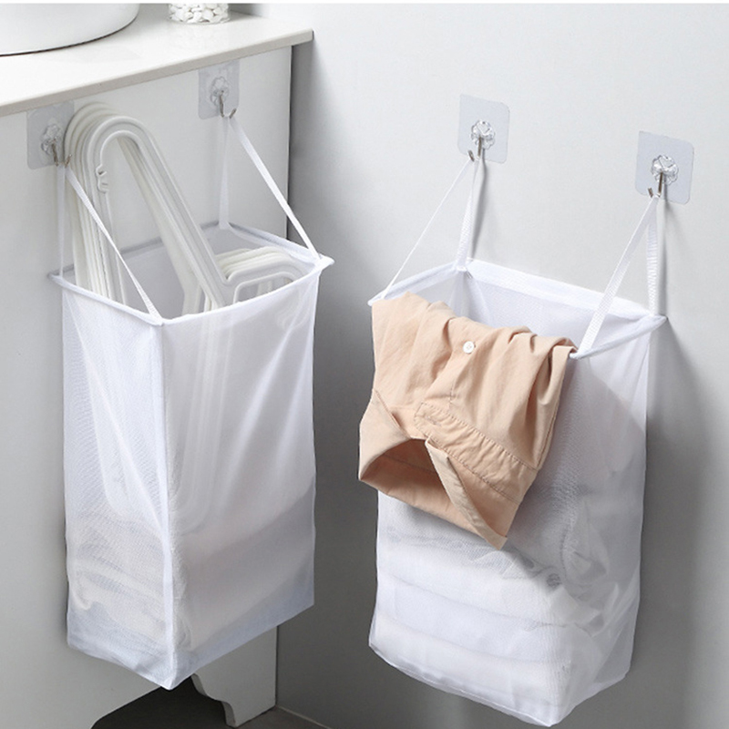 Portable Wall-mounted Laundry Basket Underwear Socks Clothing Storage Bag Folding Bathroom Laundry Storage Bag Household Items