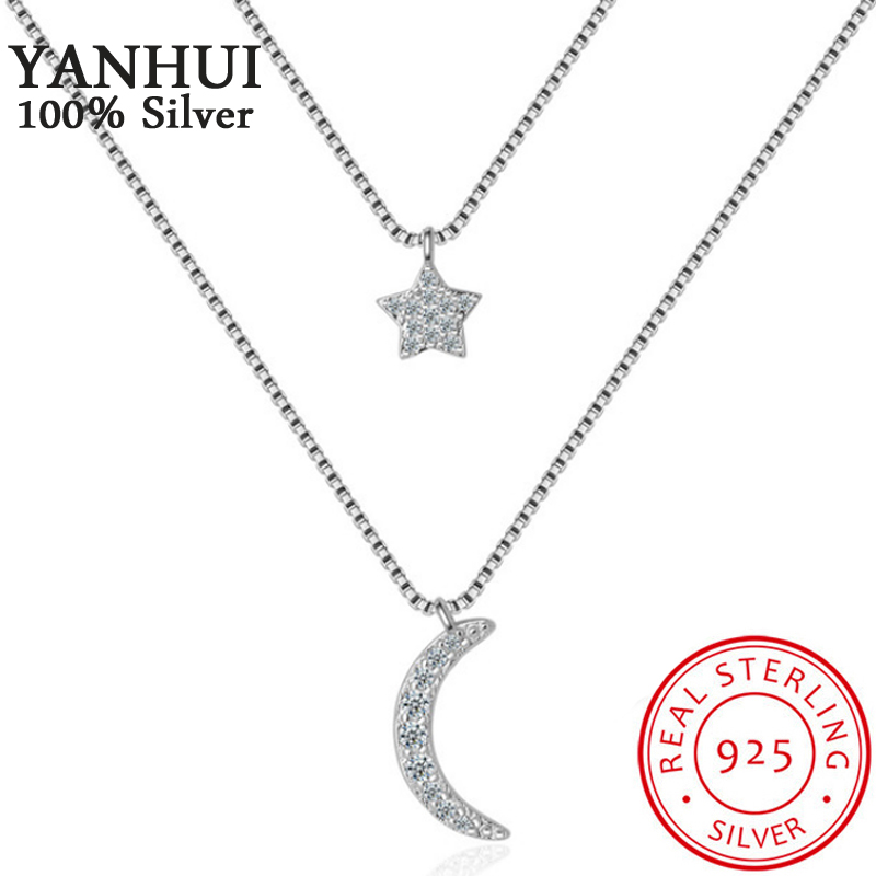 YANHUI New Trendy Double Layered Choker Necklace With Moon& Stars Pendant Multistrand Necklace Silver 925 Jewelry For Women ND18