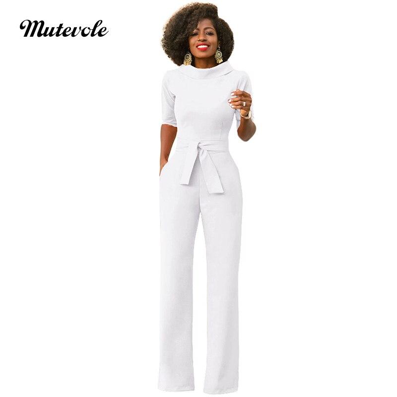Mutevole Women Casual Front Two Pocket Elegant Jumpsuit Summer Half Sleeve Zipper Jumpsuit Turn Down Collar Combinaison Femme