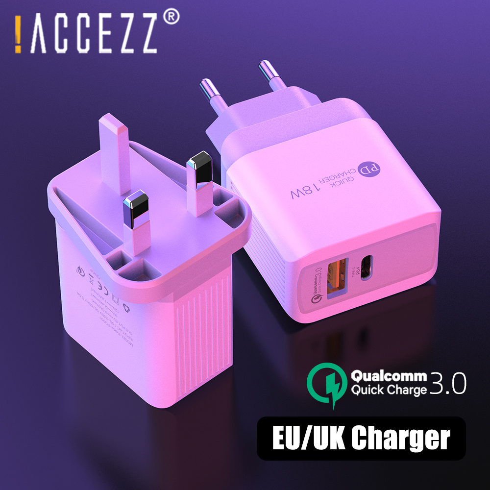 !ACCEZZ 18W Dual USB Charger Quick Charge 3.0 For iPhone iPad Xiaomi Samsung EU/UK USB C PD Fast Phone Charger Wall Adapter Plug image