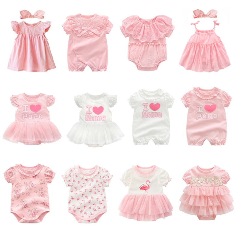 New Born Baby Girl Clothes & Dresses Summer Pink Princess Girls Clothing Sets For Birthday Party 0 3 6 9 Months Roupa Bebe