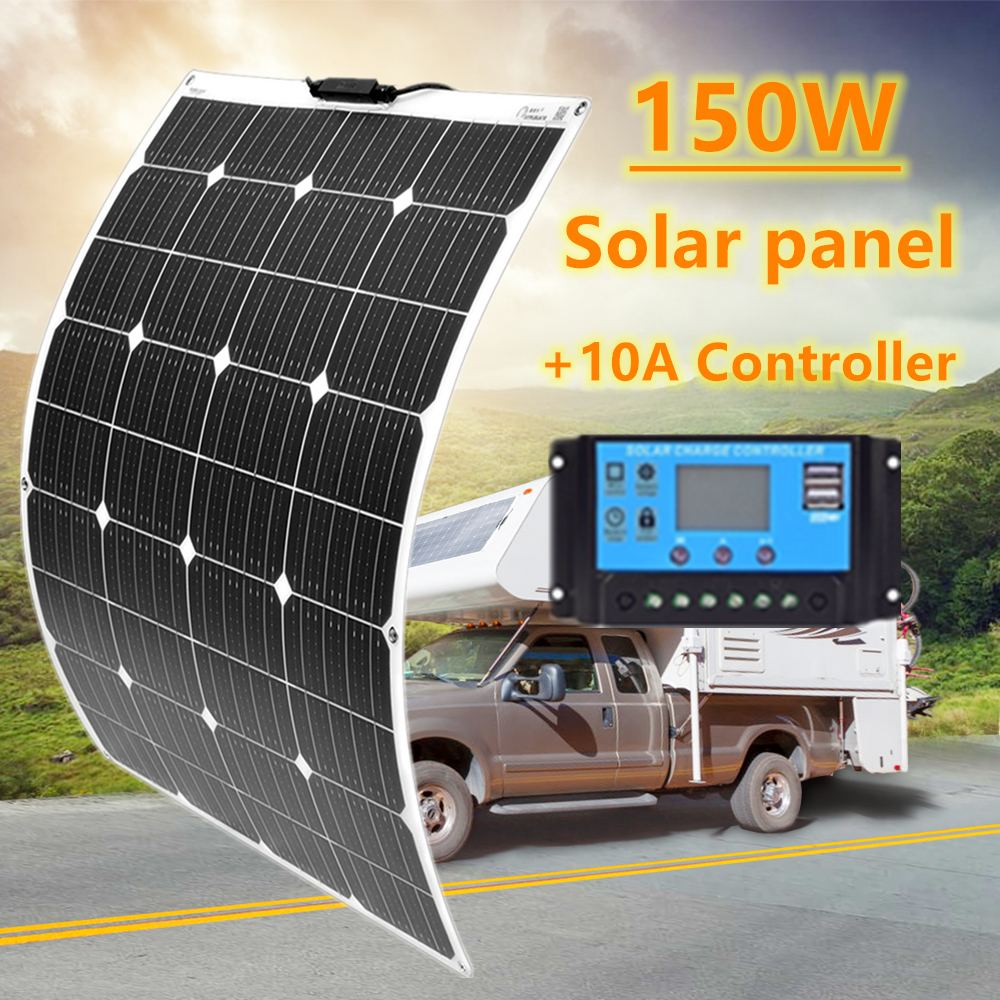 NEW <font><b>150W</b></font> Flexible <font><b>Solar</b></font> <font><b>Panel</b></font> 100W PERC <font><b>Solar</b></font> Cell with 20A Controller for RV Boat Home Roof Car Camping SUV 12V <font><b>Solar</b></font> Charger image
