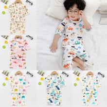 Chłopięce i dziewczęce Homewear dwuczęściowy zestaw letnie ubrania dla niemowląt snu strój bawełniany T-Shirt + krótkie spodnie 12M-10 lat nosić tanie tanio WFRV COTTON Cartoon Dzieci Wokół szyi Piżamy Unisex REGULAR 1-10years cute Pasuje prawda na wymiar weź swój normalny rozmiar