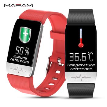 MAFAM T1 smartband z zegarkiem z temperaturą odporność miernik tętna ekg monitor ciśnienia krwi prognoza pogody przypomnienie o piciu tanie i dobre opinie Brak Na nadgarstku Wszystko kompatybilny 128 MB Passometer Fitness tracker Uśpienia tracker Wiadomość przypomnienie