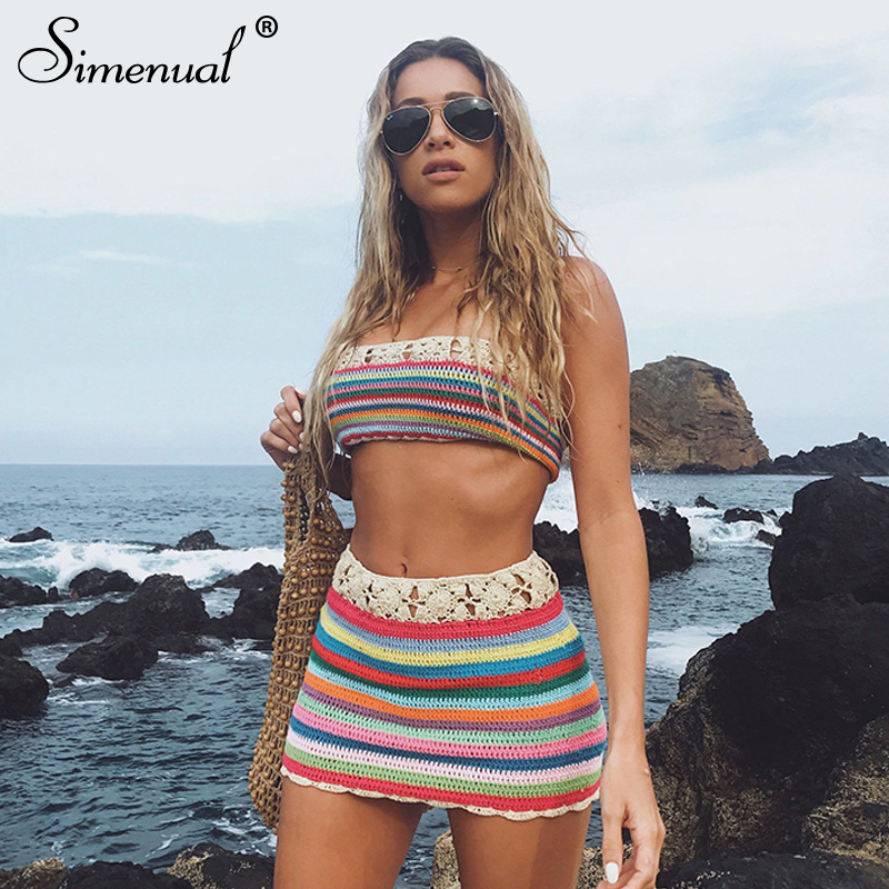 Simenual Crochet Handmade Sexy BOHO Two Piece Sets Women Cover Up Bandage Striped Outfits Summer Tube Top And Skirt Beachwear