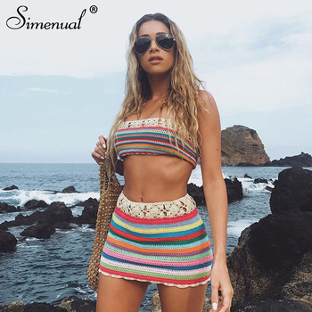 Simenual Crochet hecho a mano Sexy BOHO conjuntos de dos piezas mujeres cubrir vendaje atuendos a rayas verano Tube Top y falda ropa de playa