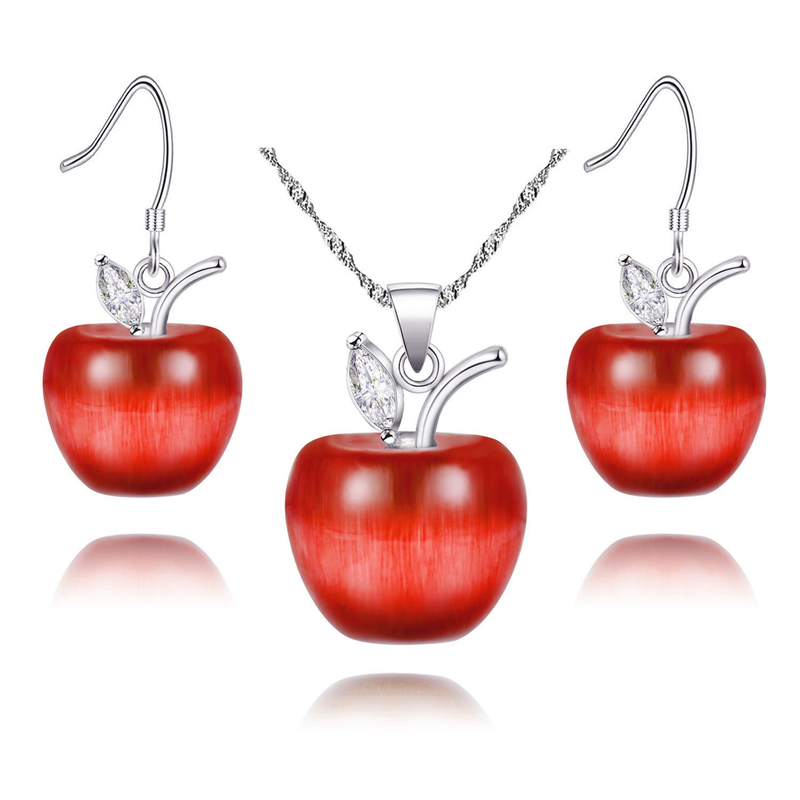 Red Apple Jewelry 925 Sterling Silver Necklace Pendant Earrings Set Teen Gifts