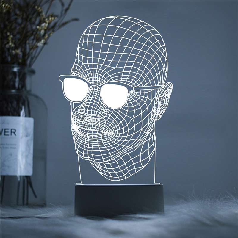 Glasses Man LED Designer Doctor Professionals 3D Acrylic Night Lamp Light Luminary with Touch and Remote Lamps Lights Decoration