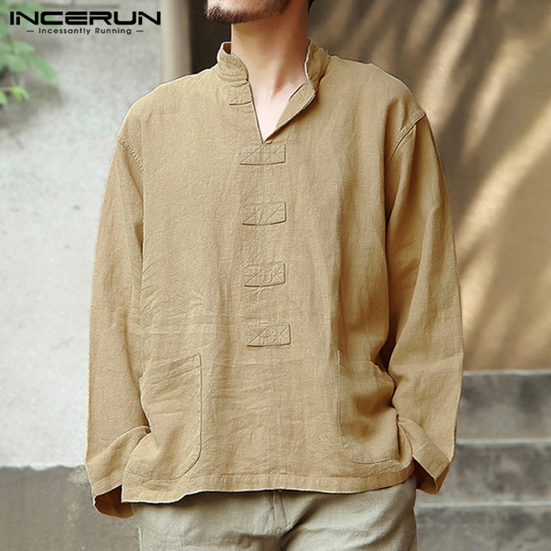 INCERUN Vintage Cotton Linen Shirt Men Solid Color Casual Long Sleeve Pockets V Neck Blouse Chinese Style Shirts Camisa 2020 3XL