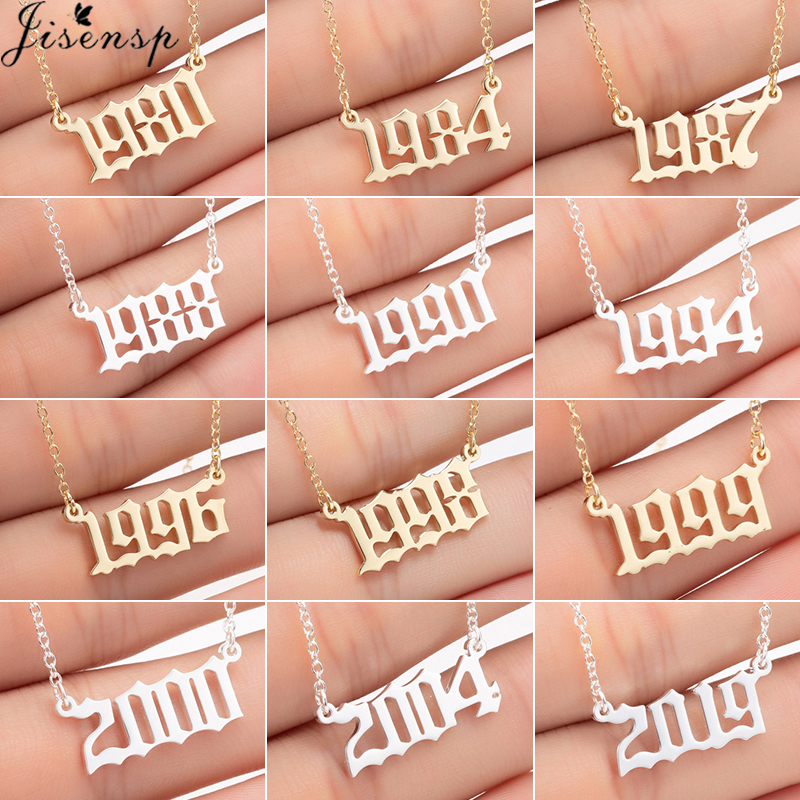 Jisensp Custom Jewelry Special Date Year Number Necklace for Women Kids 1994 1996 1999 from 1980 to 2019 Hip Hop Men Collares