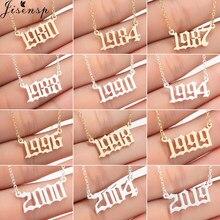 Jisensp biżuteria na zamówienie specjalna data rok numer naszyjnik dla kobiet dzieci 1994 1996 1999 od 1980 do 2019 Hip Hop mężczyźni Collares