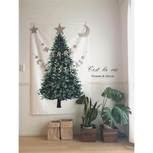 цена на Ins Christmas tree pine hang cloth wall decor cloth Christmas decoration for home small fresh holiday background simple tapestry
