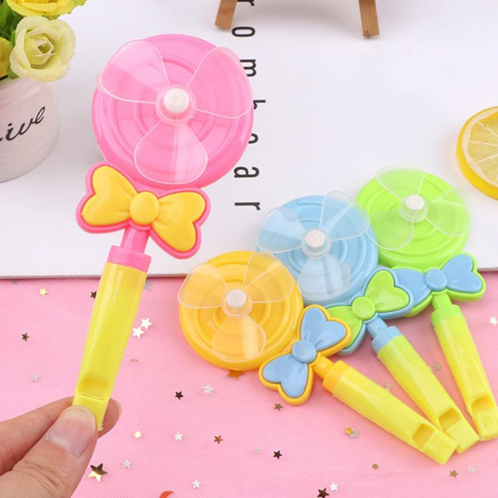 4Pcs Baby Kids Windmill Toy Lollipop Shape Small Windmill Whistle Developmental Outdoor Handle Toys Pinwheel Wind Spinner