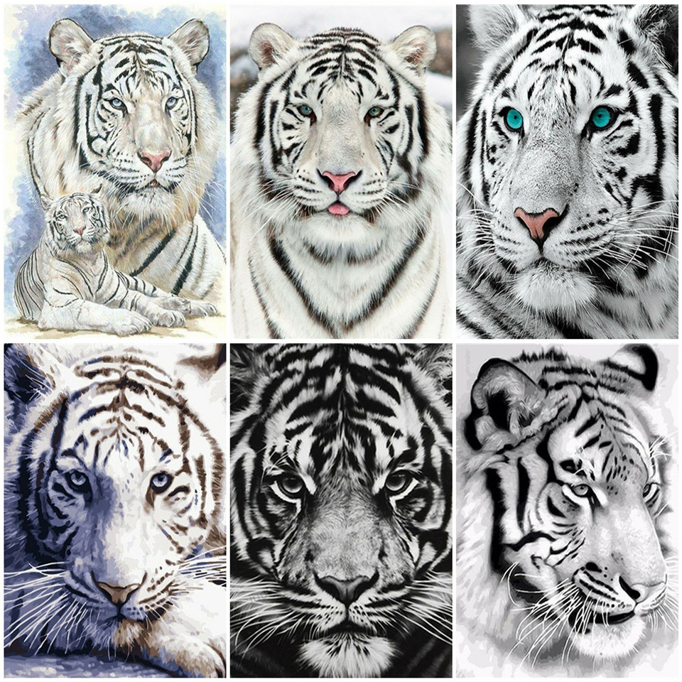 AZQSD Unframe DIY Adult Coloring By Numbers Tiger Handmade Gift Acrylic Paint Oil Painting By Numbers Animal Decor For Home