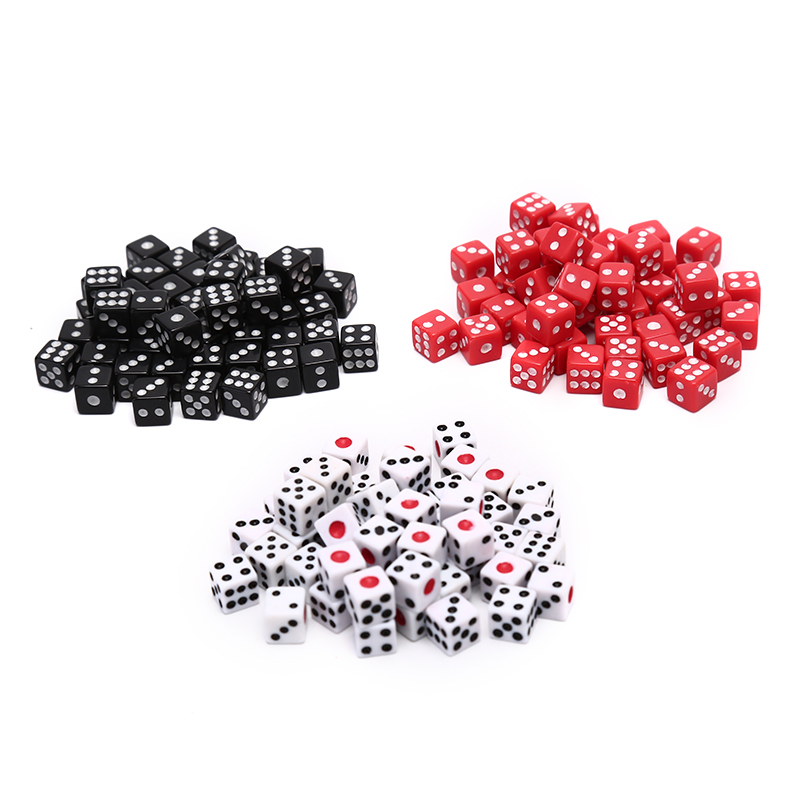 50 Pcs/Lot Dices 8mm Plastic White/ Red/ Black Gaming Dice Standard Six Sided Decider Birthday Parties Board Game Drop Shipping