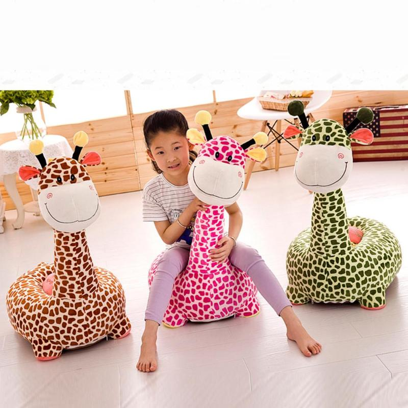 Cartoon Giraffe Plush Sofa Cover Without Filling Cotton Washable Baby Seat Detachable Slipcover Home Textile Decoration