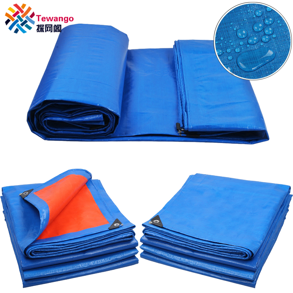 Tewango 180gsm Heavy Duty Blue+Orange PE Canvas Tarpaulin Roof Covering Outdoor Waterproof Tarp Sheet For Truck