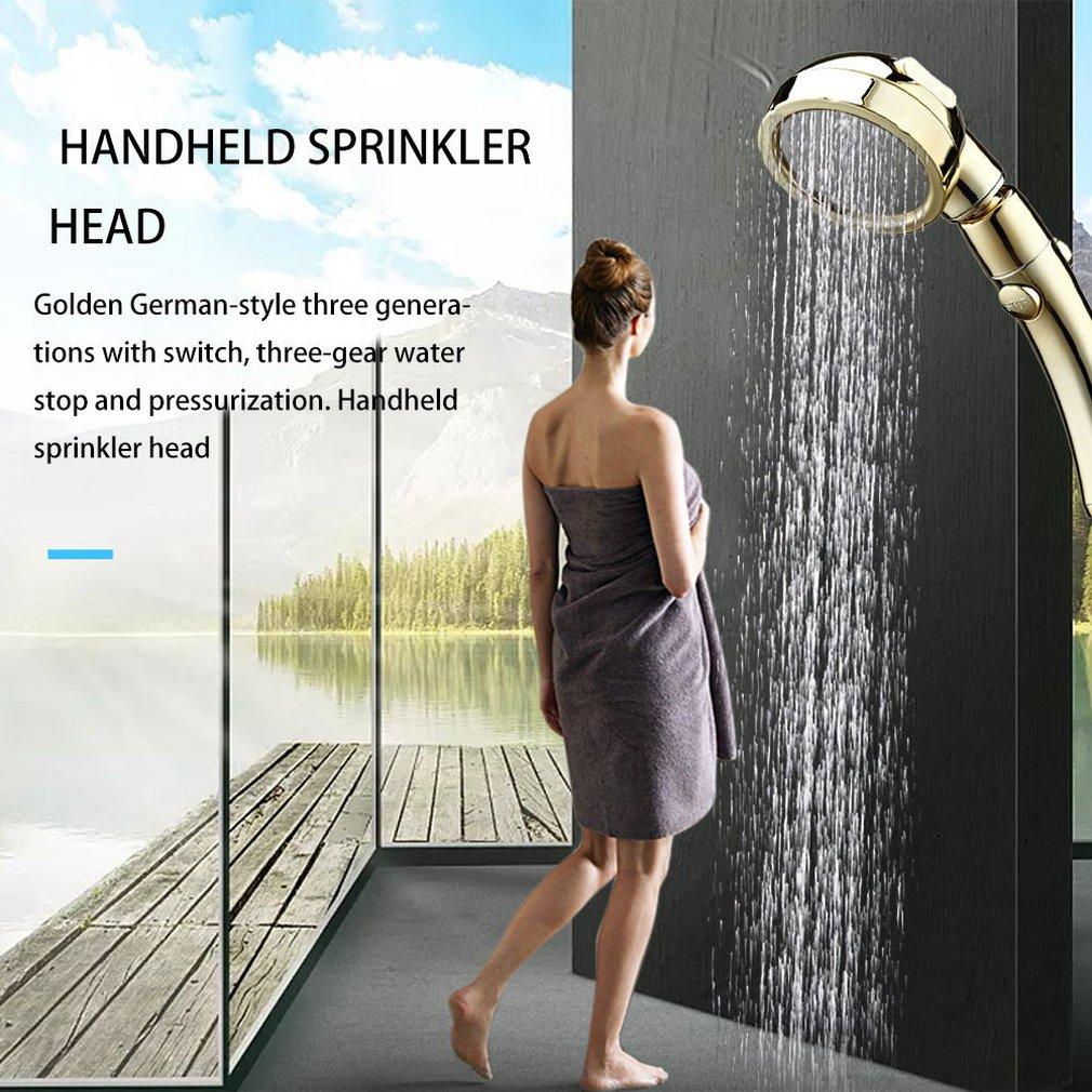 Germany Golden Belt Switch Three Stop Water Pressurized Handheld Shower Hotel Multifunctional Shower Head